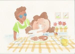 """Ilustração do livro """"Simplesmente Diferente"""" - Uma criança cheira a comida sobre a mesa enquanto a cozinheira, cega, a observa com satisfação."""
